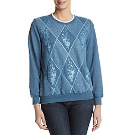 Alfred Dunner Quilted Diamond Pattern Floral Embroidery Sweatshirt