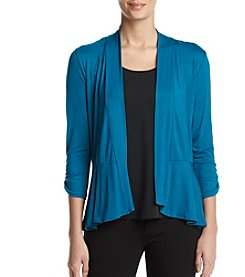 Studio Works Peplum Hem Ruched Sleeve Cardigan