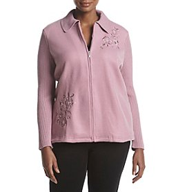 Alfred Dunner Plus Size Floral Embroidered Fleece Jacket