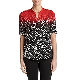 Calvin Klein Ombre Geometric Printed Roll Sleeve Top