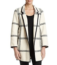 Calvin Klein Windowpane Notch Collar Coat