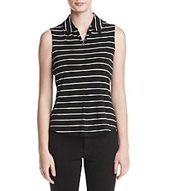 Tommy Hilfiger Sleeveless Striped Pattern Zip Detail Top