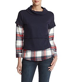Ruff Hewn Cowl Neck Plaid Pattern Hem And Sleeve Top