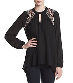 Oneworld Embroidered Keyhole Cutout Neckline Top