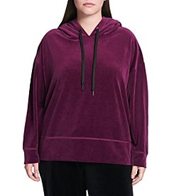 Calvin Klein Performance Plus Size Hooded Velvet Top