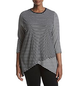 Calvin Klein Performance Plus Size Striped Pattern Sharkbite Hem Top