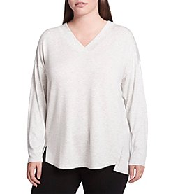Calvin Klein Performance Plus Size Drop Shoulder Split Hem Top