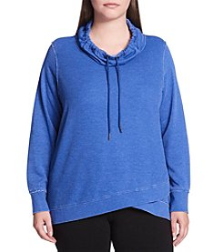 Calvin Klein Performance Plus Size Waffle Texture Drawstring Cowl Neck Pullover