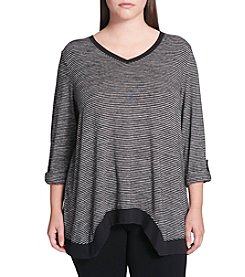 Calvin Klein Performance Plus Size Thin Horizontal Striped Top