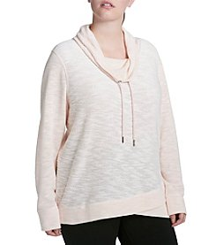 Calvin Klein Performance Plus Size Crossover Cowl Neck Pullover