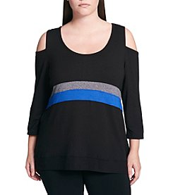 Calvin Klein Plus Size Cold Shoulder Cutout Stripe Detail Top