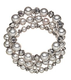Relativity Silvertone Three Row Beaded Stretch Bracelet
