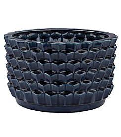 Dimond Accordion Crackled Blue Pot