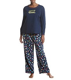 KN Karen Neuburger Plus Size Fleece Combo Pajama Set