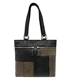 GAL Leather Patch Front Top Zip Tote
