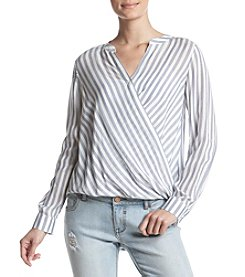 Pink Rose Stripe Wrap Front Button Up Top