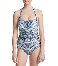 Jessica Simpson Strappy Side Bandeau One Piece Swimsuit