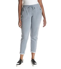 Calvin Klein Performance Plus Size Zip Pocket Rolled Cuff Drawstring Fleece Pants