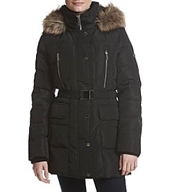 MICHAEL Michael Kors Faux Fur Trim Belted Down Coat