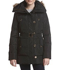 MICHAEL Michael Kors Wide Collar Button Belted Down Coat