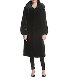 Jones New York Long Hooded Faux Fur Coat