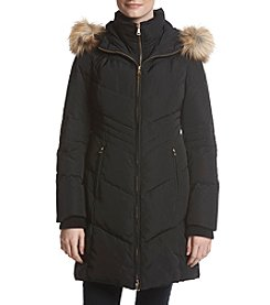 Jones New York Faux Fur Hood With Bib Coat