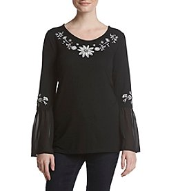 August Silk Embroidered Top