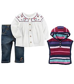 Carter's Baby Girls' Tunic, Pants and Poncho Set