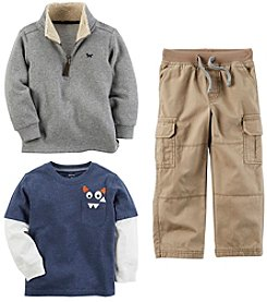 Carter's Boys' Long Sleeve Top, Sweater and Drawstring Pants Collection