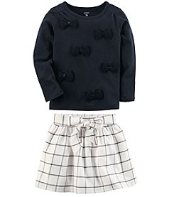 Carter's Girls' Long Sleeve Bow Top and Skirt Set