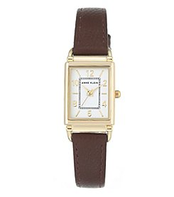 Anne Klein Women's Rectangle Faux Leather Strap Watch