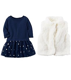 Carter's Girls' Dress and Faux Fur Vest Collection
