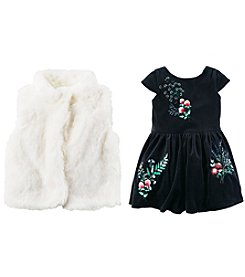 Carter's Girls' Velvet Dress and Faux Fur Vest Collection