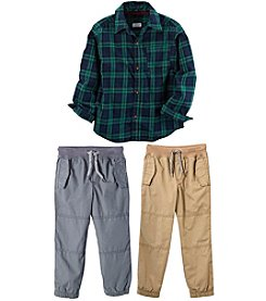 Carter's Boys' Plaid Top and Poplin Joggers Collection
