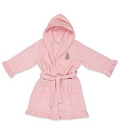Linum Kid's Christmas Tree Cotton Hooded Terry Bathrobe with Ruffle