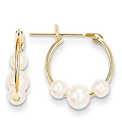 14K Yellow Gold Cultured Freshwater Pearl Hoop Earrings
