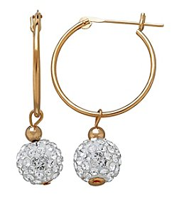 14K Yellow Gold Hoop Earring with Clear Swarovski Crystal Ball