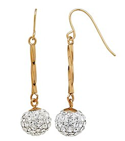 14K Yellow Gold Twist Bar with Crystal Drop Wire Earrings