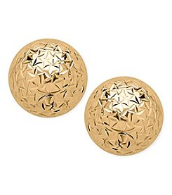 14K Yellow Gold Crystal Cut 10mm Ball Stud Earrings