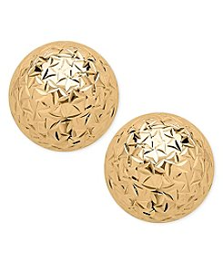 14K Yellow Gold Crystal Cut 6mm Ball Stud Earrings
