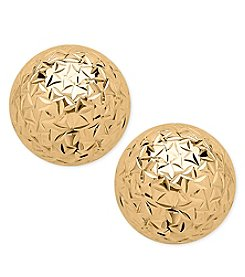 14K Yellow Gold Crystal Cut 8mm Ball Stud Earrings