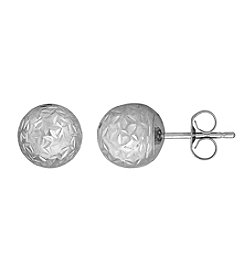 14K White Gold Crystal Cut 8mm Ball Stud Earrings