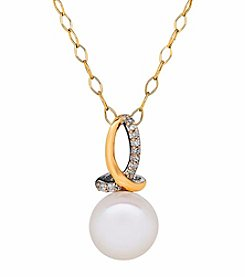 Sterling Silver and 14K Yellow Gold Freshwater Pearl Pendant with 0.03CT Diamond Accent