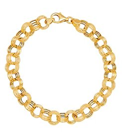 14K Yellow Gold Triple Rolo Link Bracelet