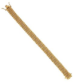 14K Yellow Gold Polished Tessere Woven Bracelet