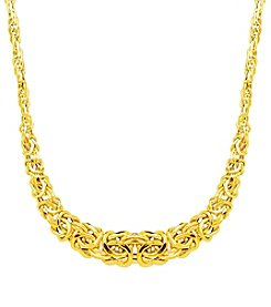 14K Yellow Gold Graduated Byzantine Necklace