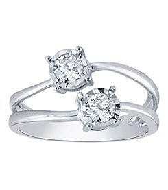 10K White Gold 0.50ct Diamond 2 stone Ring