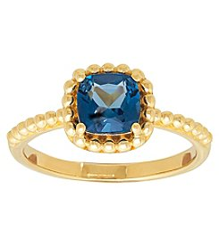 10K Yellow Gold Cushion Cut London Blue Topaz Ring