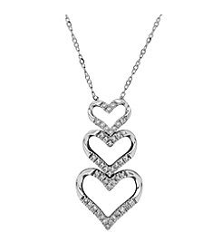 10K White Gold 0.12ct Diamond 3 Heart Necklace
