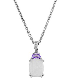 Sterling Silver Created Opal and Amethyst Pendant with 0.01CT Diamond Accent